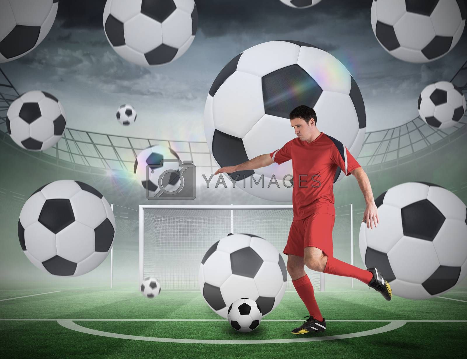 Football player about to take a penalty by Wavebreakmedia