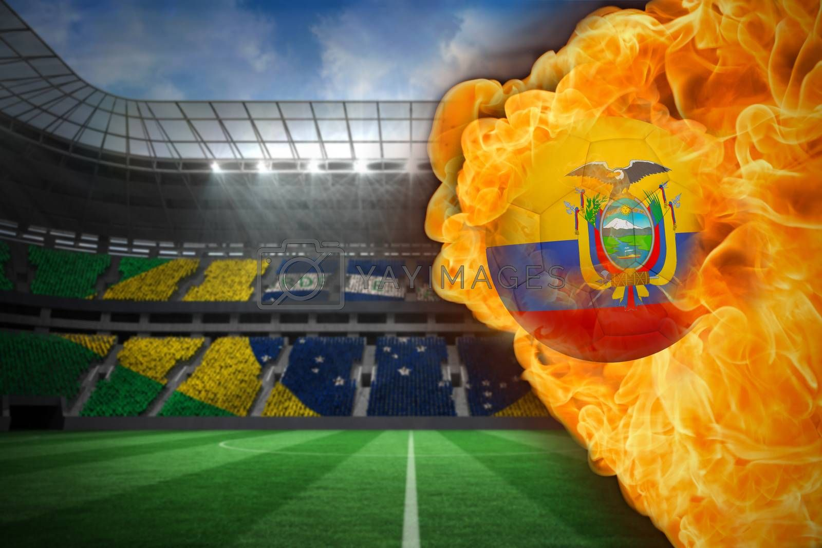 Fire surrounding ecuador flag football by Wavebreakmedia