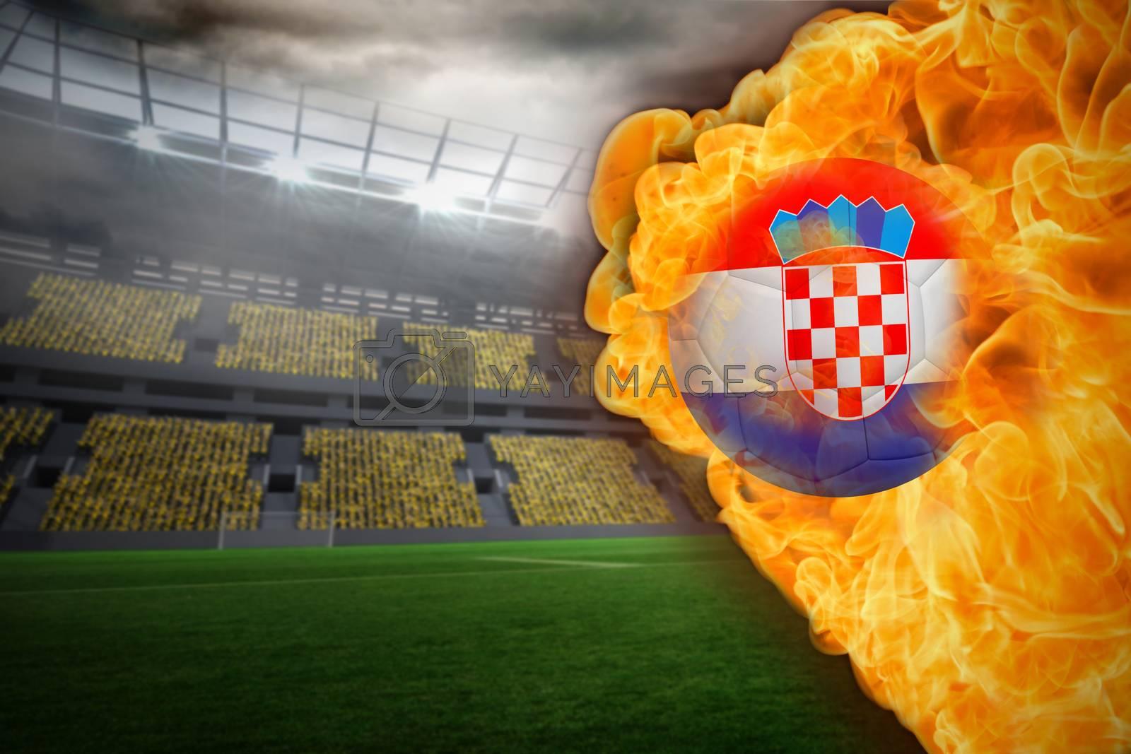 Fire surrounding croatia flag football by Wavebreakmedia