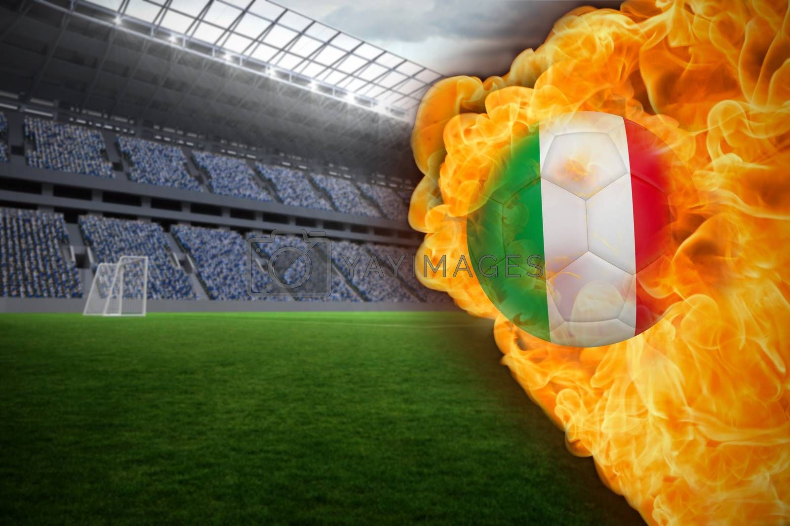 Fire surrounding italy flag football by Wavebreakmedia