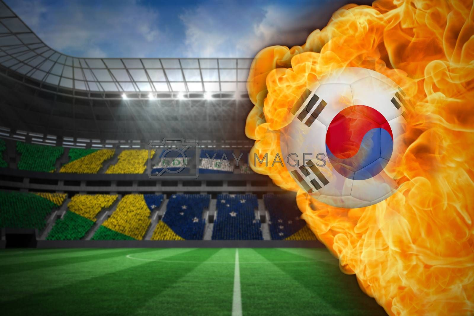 Fire surrounding korea republic flag football by Wavebreakmedia