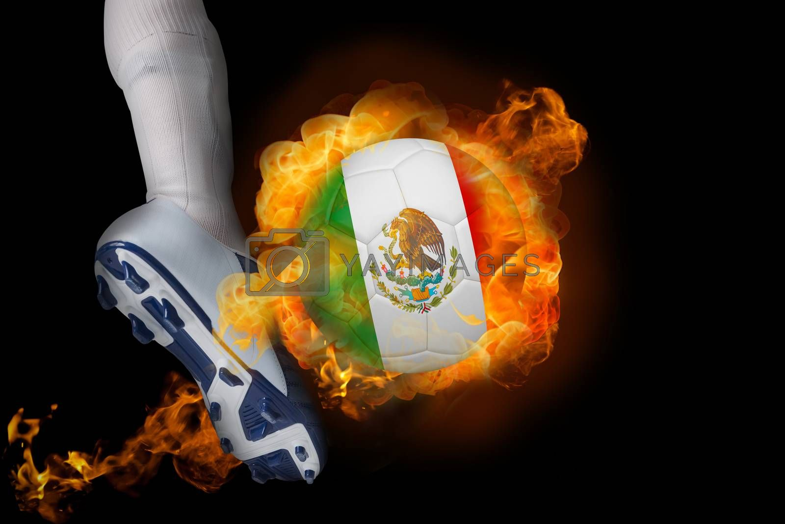 Football player kicking flaming mexico ball by Wavebreakmedia
