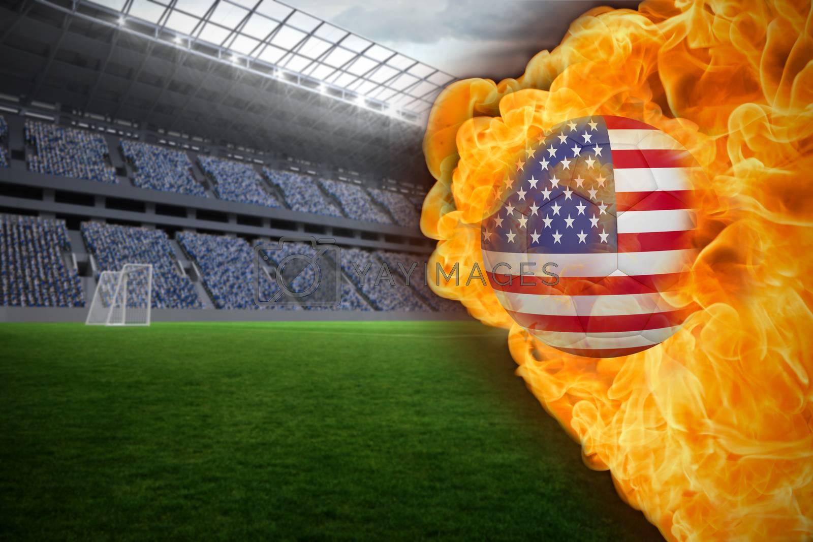 Fire surrounding usa flag football by Wavebreakmedia