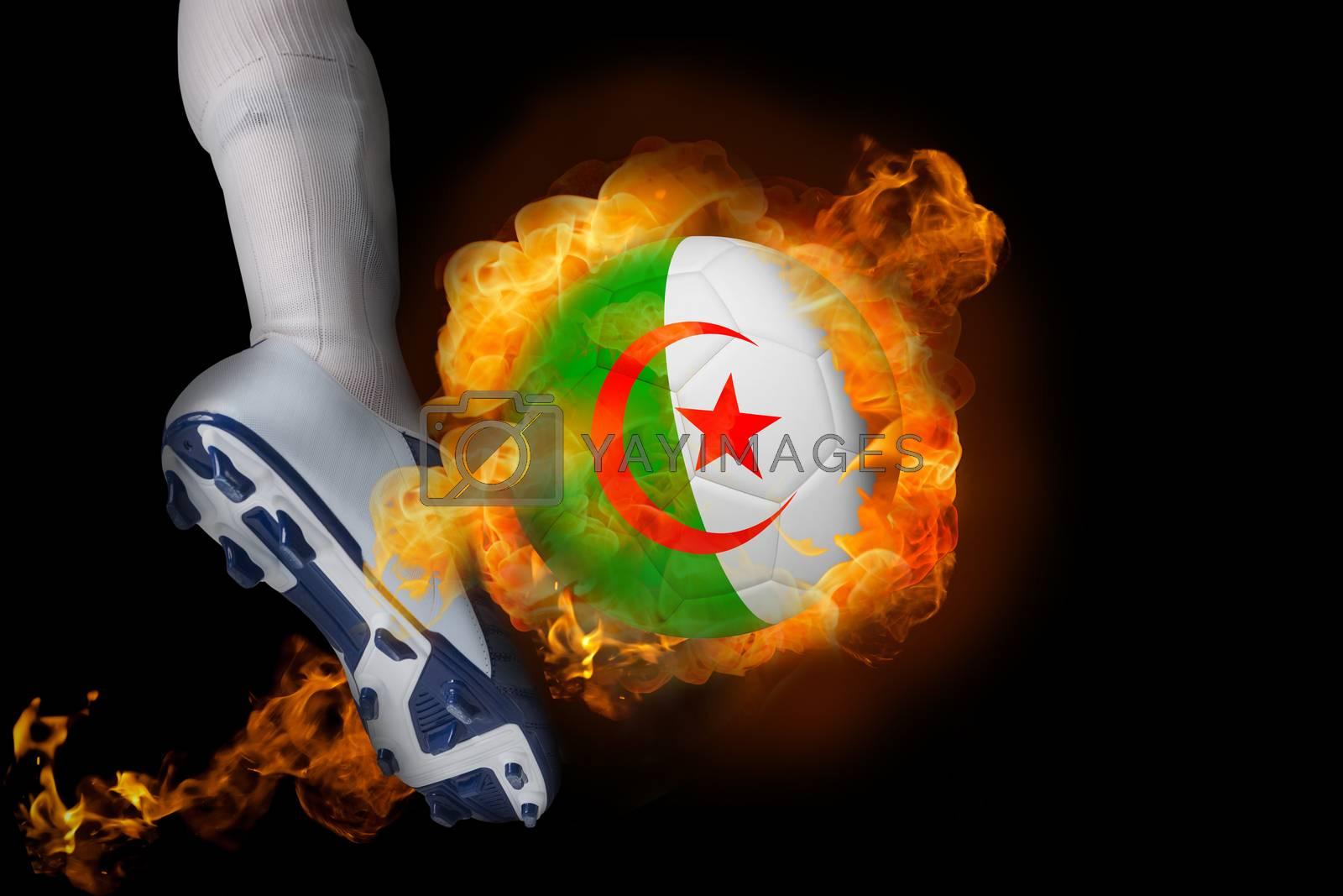 Football player kicking flaming algeria ball by Wavebreakmedia