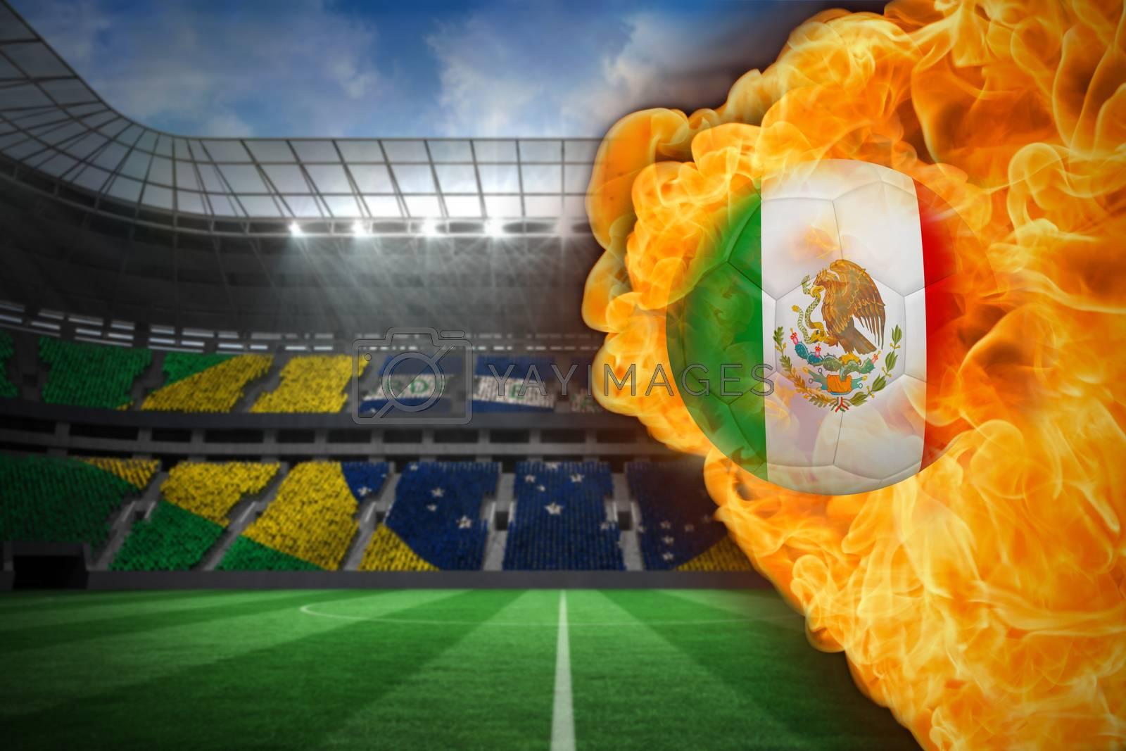 Fire surrounding mexico flag football by Wavebreakmedia