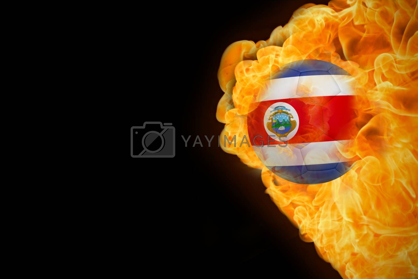 Fire surrounding costa rica flag football by Wavebreakmedia