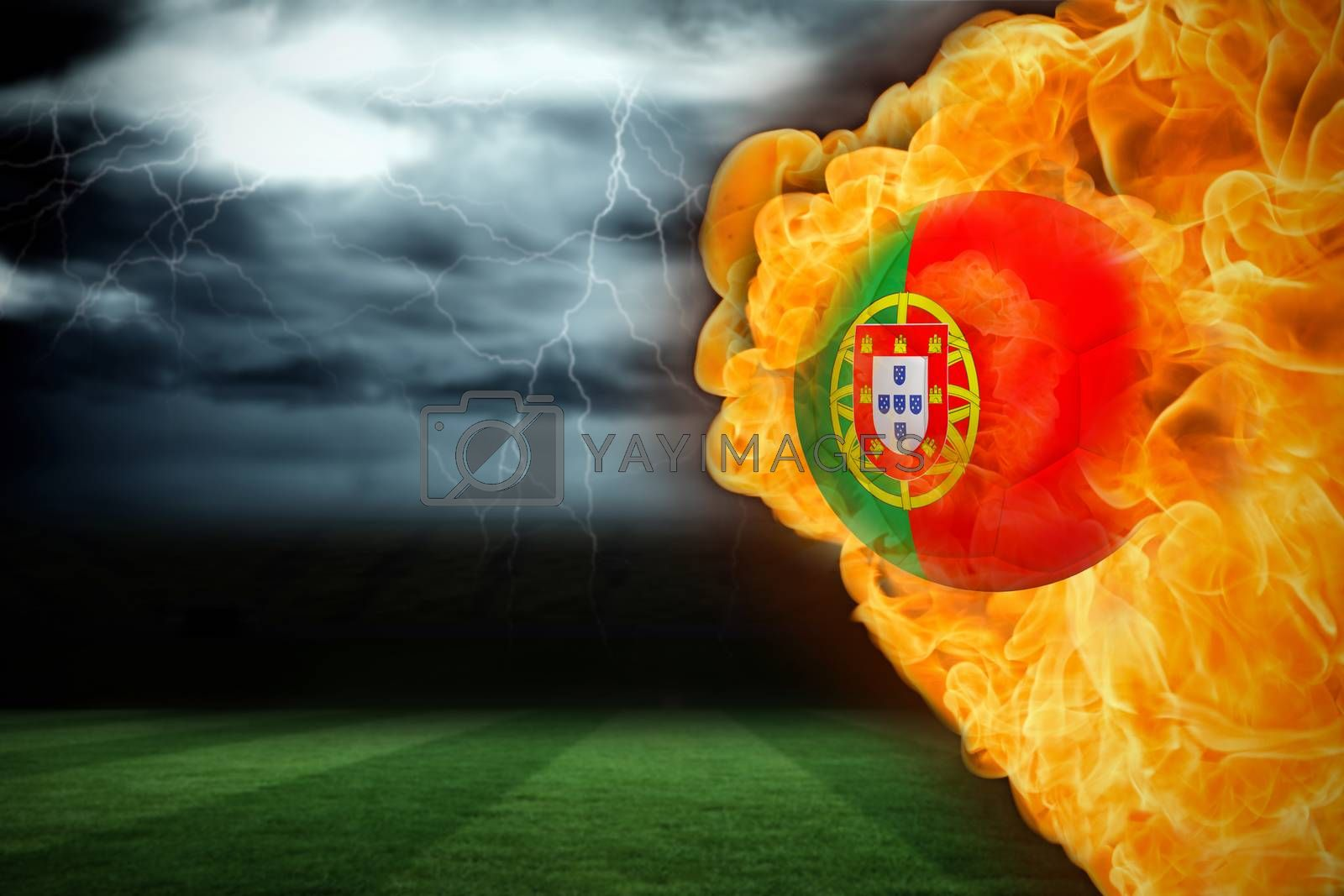 Fire surrounding portugal flag football by Wavebreakmedia