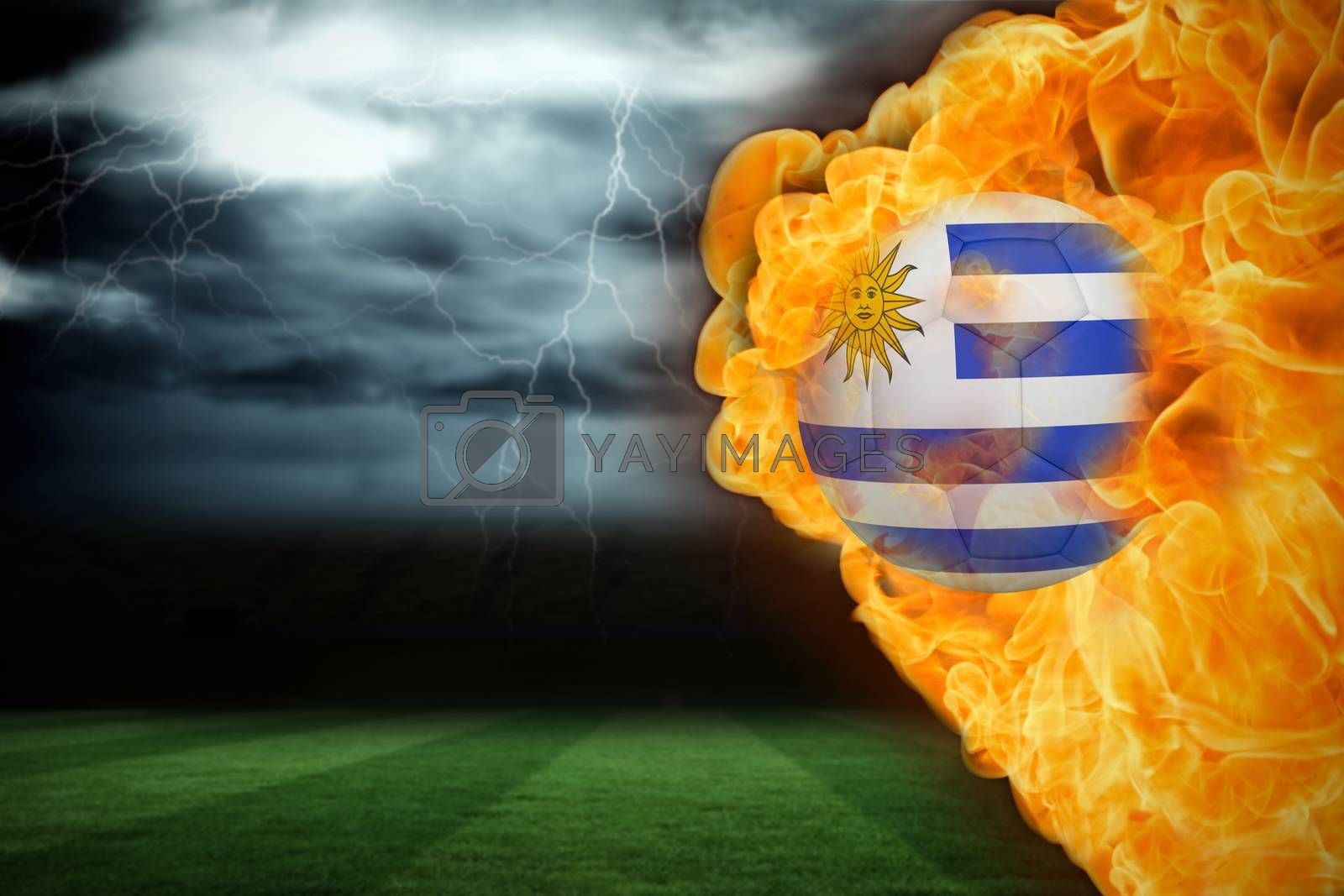 Fire surrounding uruguay flag football by Wavebreakmedia