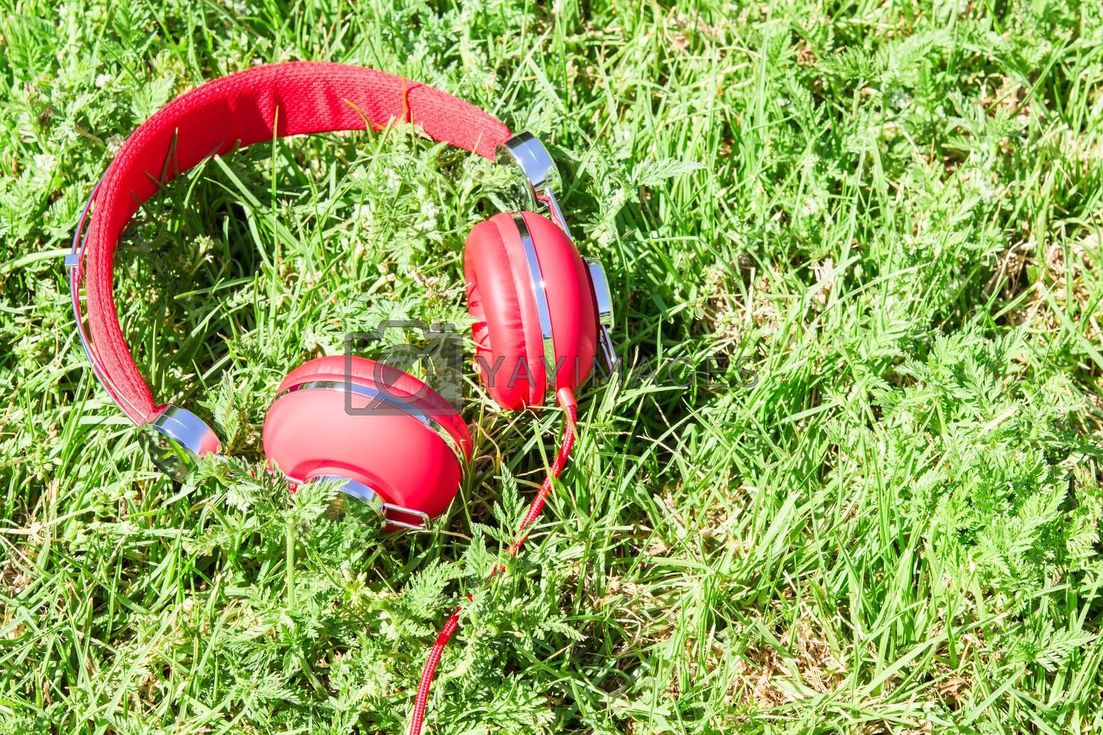 Vibrant red headphones on fresh glade by servickuz