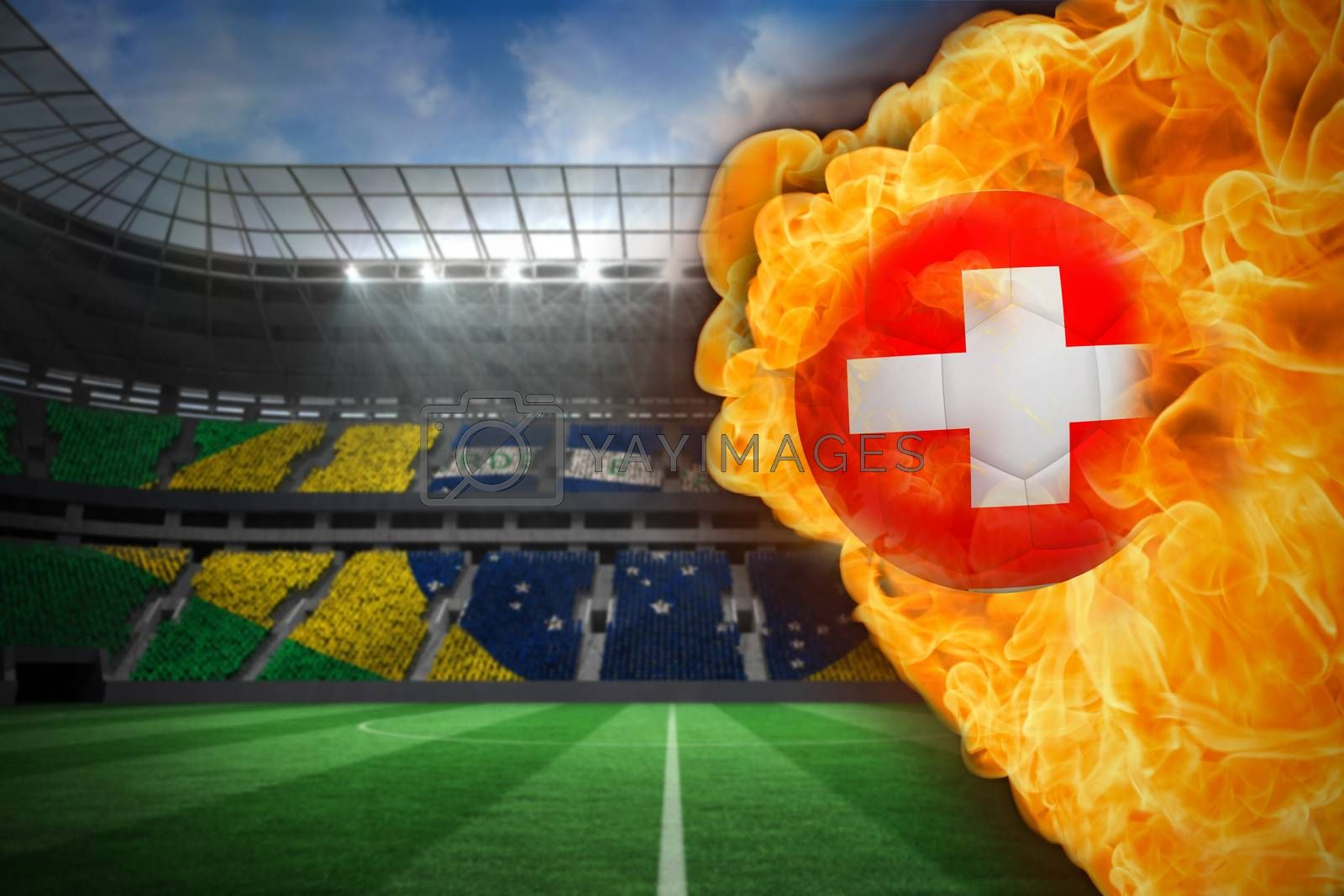 Fire surrounding switzerland flag football by Wavebreakmedia