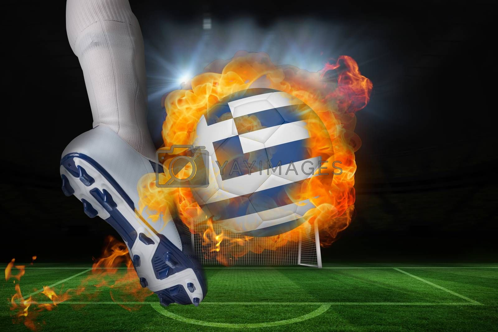 Football player kicking flaming greece flag ball by Wavebreakmedia