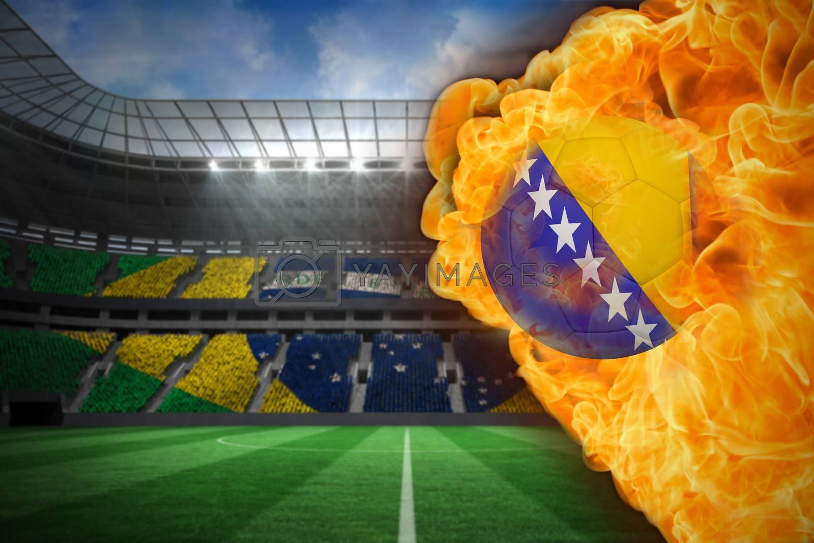 Fire surrounding bosnia flag football by Wavebreakmedia