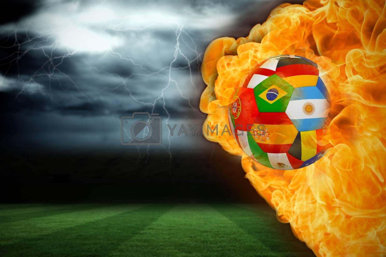 Fire surrounding international flag football by Wavebreakmedia