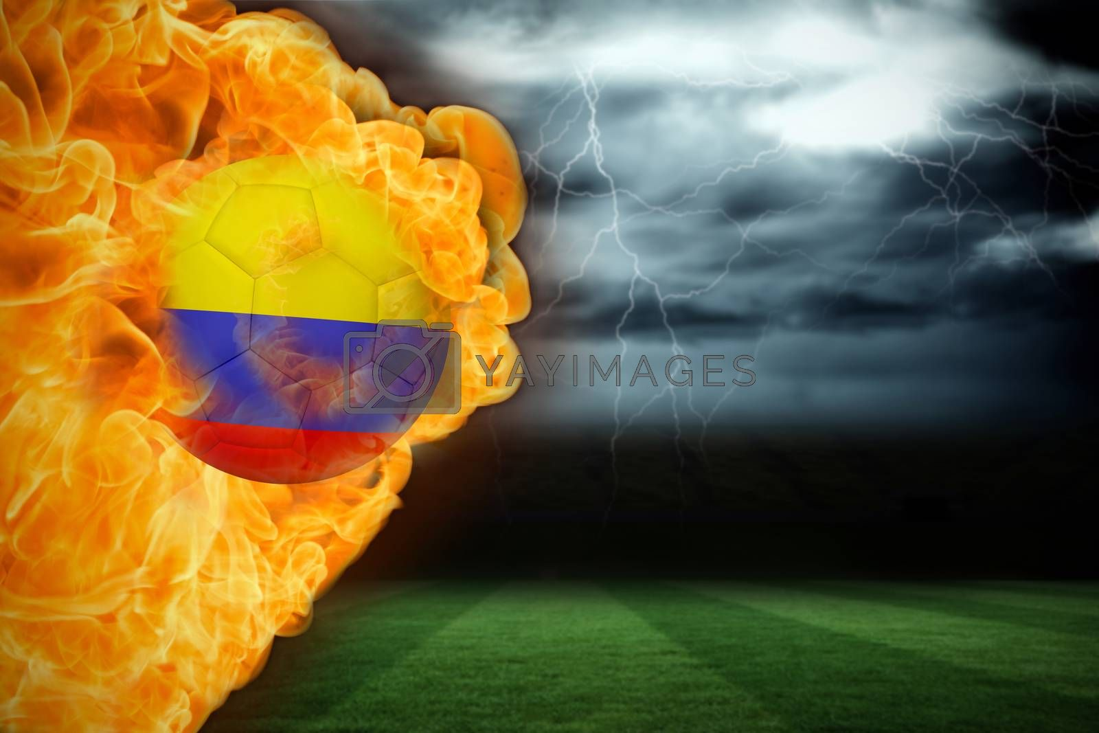 Fire surrounding colombia flag football by Wavebreakmedia