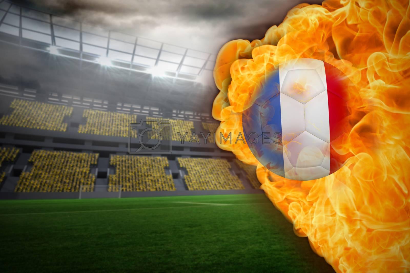 Fire surrounding france flag football by Wavebreakmedia
