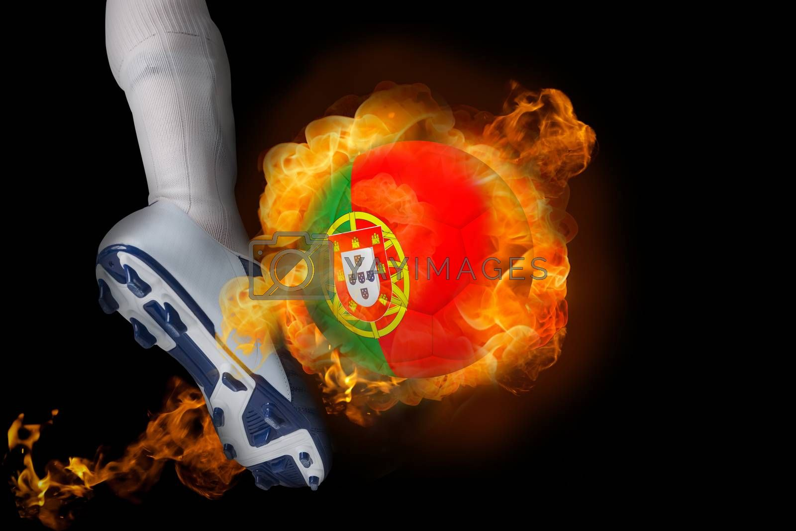 Football player kicking flaming portugal ball by Wavebreakmedia
