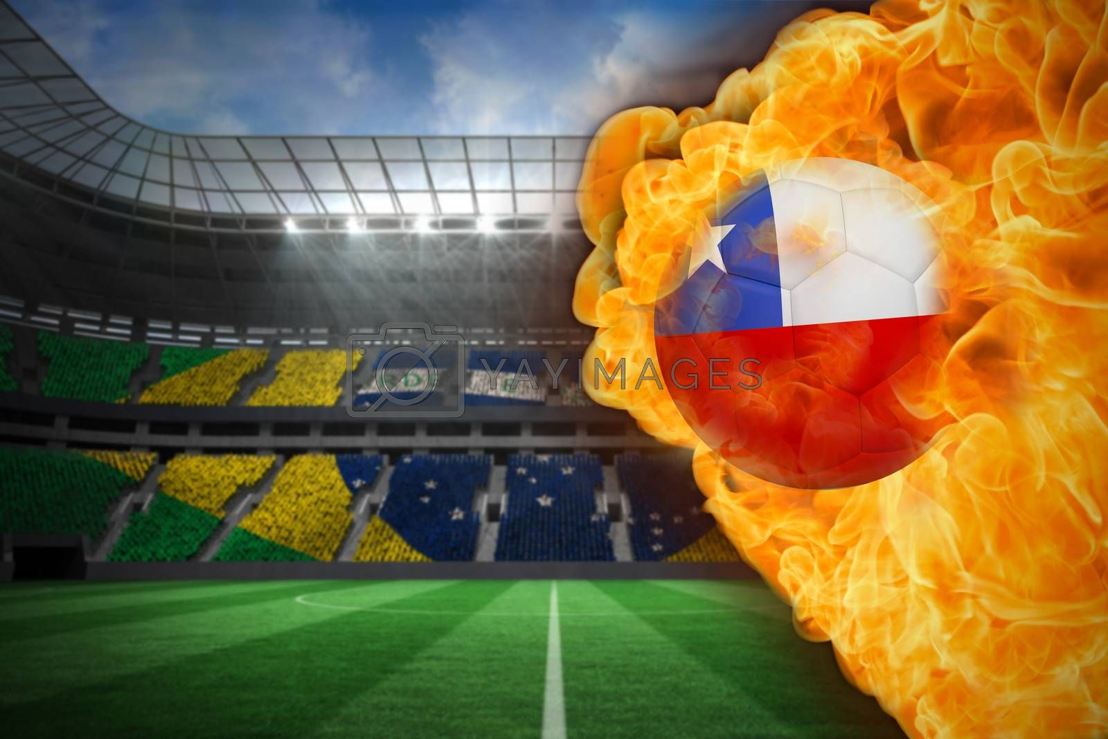 Fire surrounding chile flag football by Wavebreakmedia