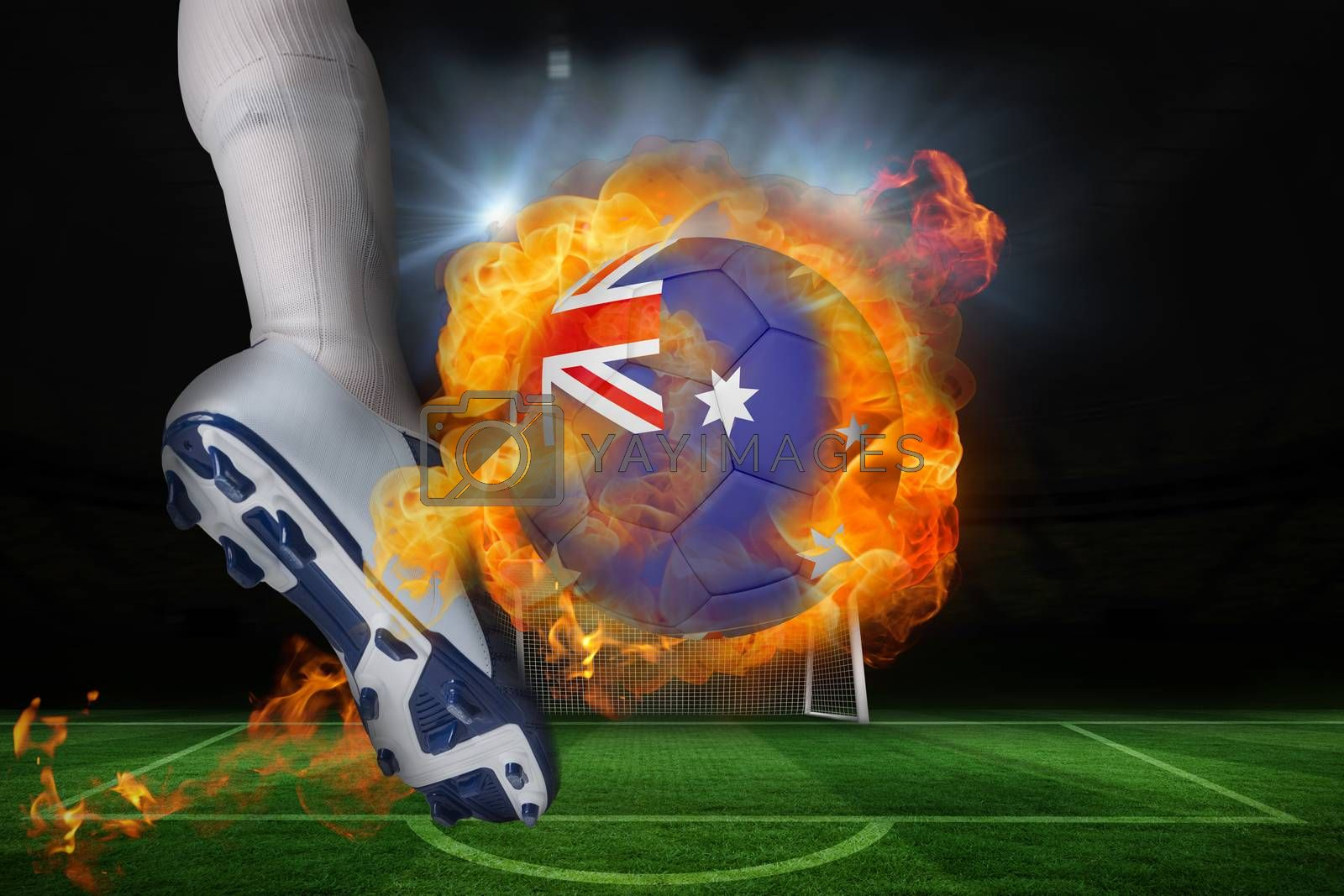 Football player kicking flaming australia flag ball by Wavebreakmedia
