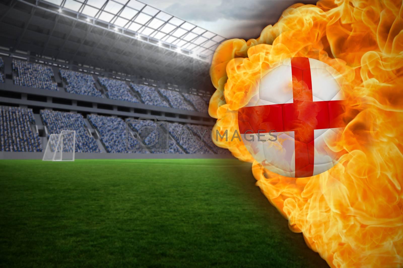 Fire surrounding england flag football by Wavebreakmedia