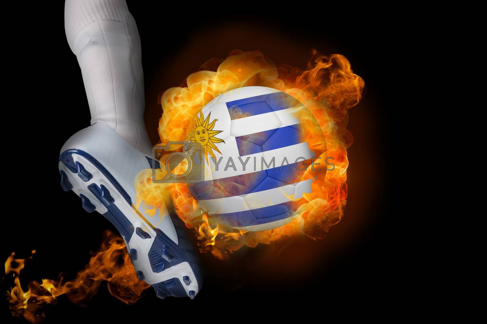 Football player kicking flaming uruguay ball by Wavebreakmedia