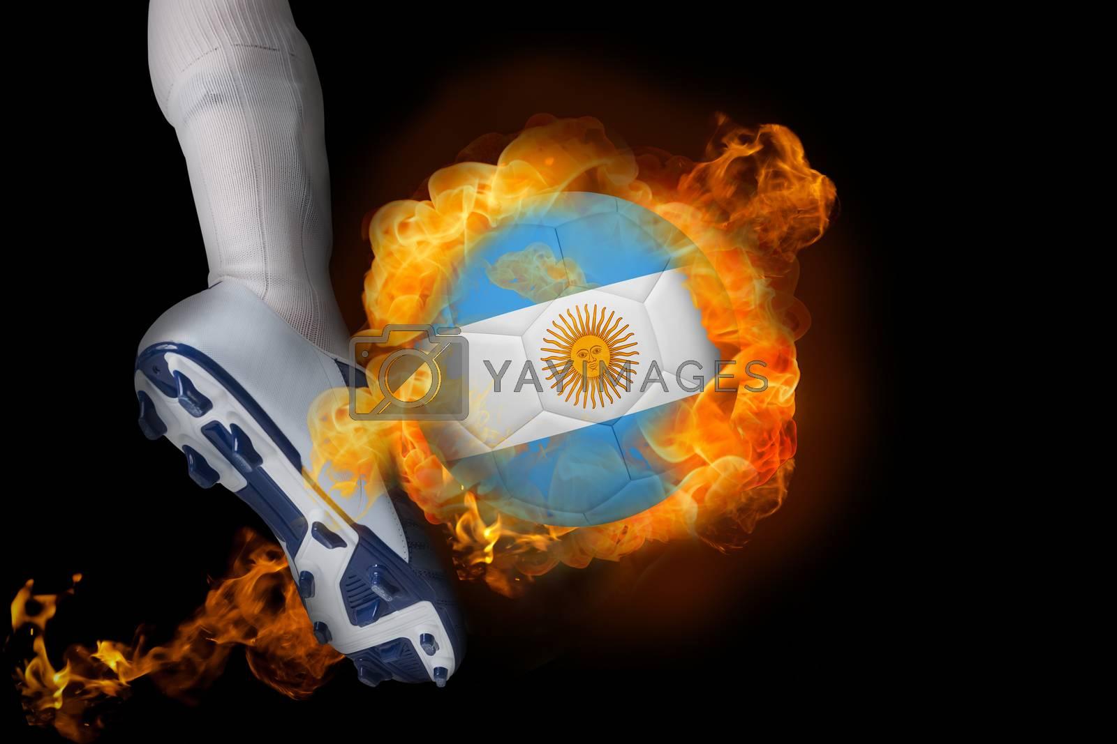 Football player kicking flaming argentina flag ball by Wavebreakmedia