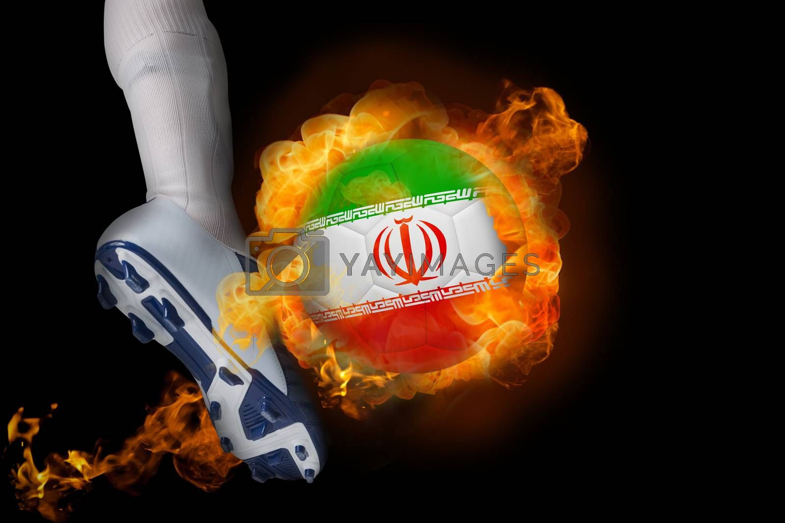 Football player kicking flaming iran ball by Wavebreakmedia