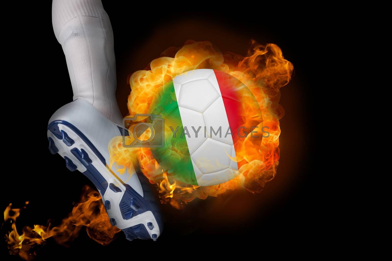 Football player kicking flaming italy ball by Wavebreakmedia