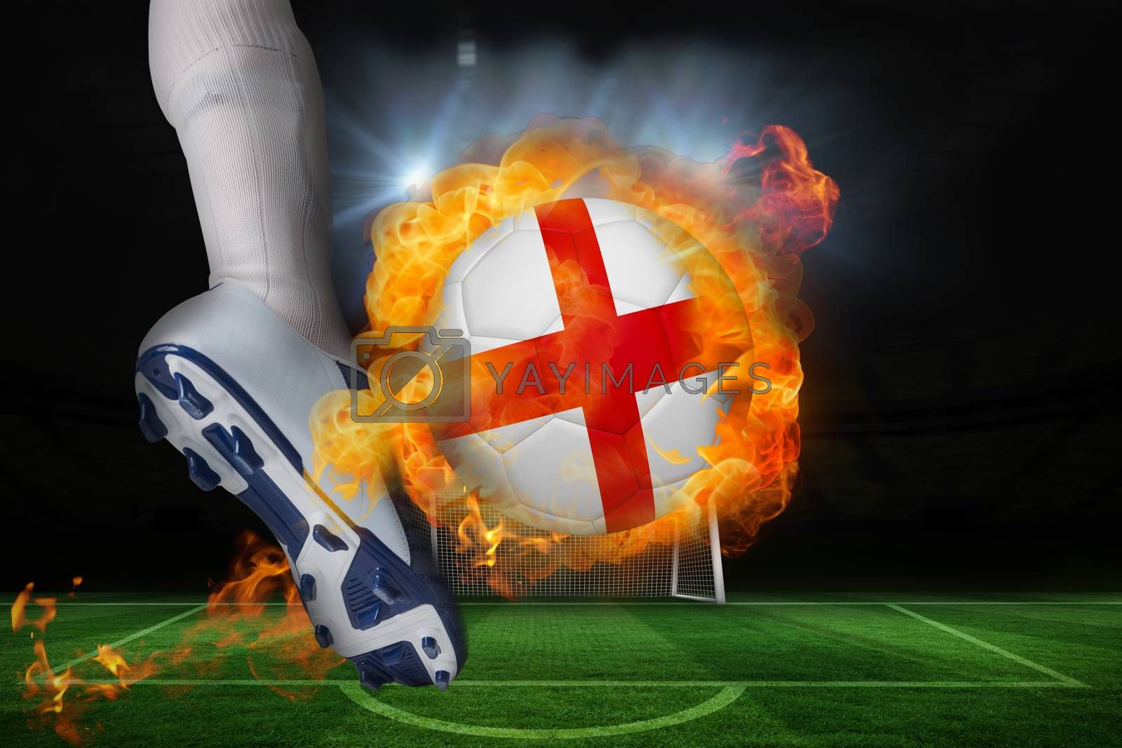 Football player kicking flaming england flag ball by Wavebreakmedia
