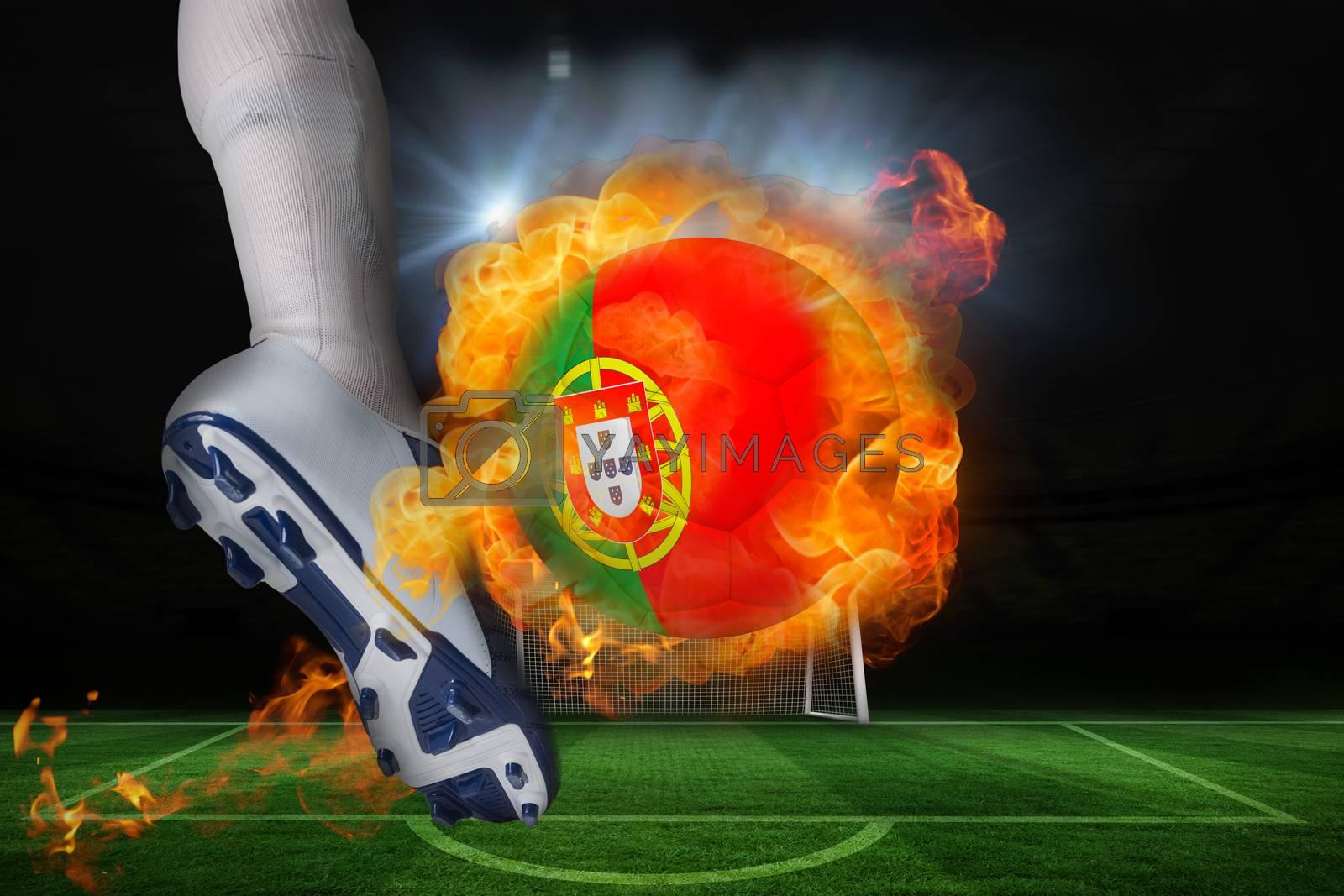 Football player kicking flaming portugal flag ball by Wavebreakmedia