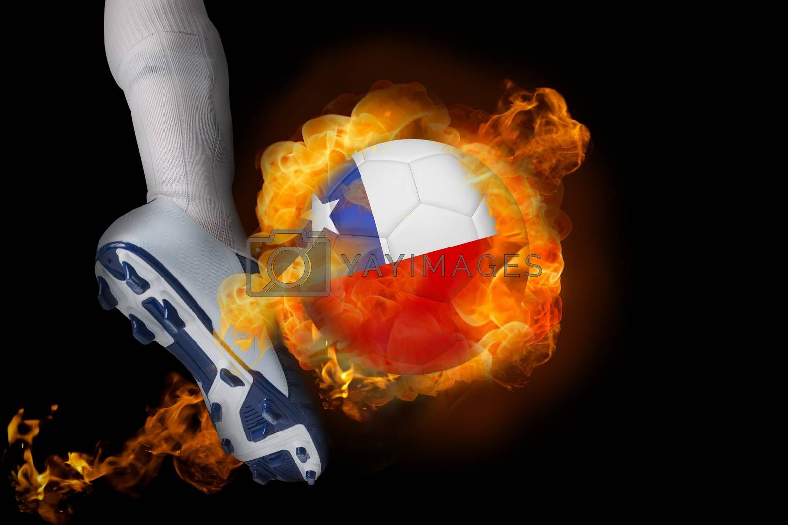 Football player kicking flaming chile ball by Wavebreakmedia