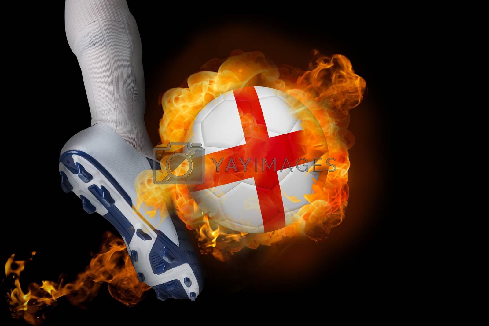Football player kicking flaming england ball by Wavebreakmedia