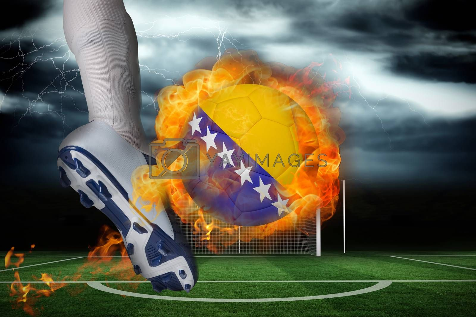 Football player kicking flaming bosnia flag ball by Wavebreakmedia