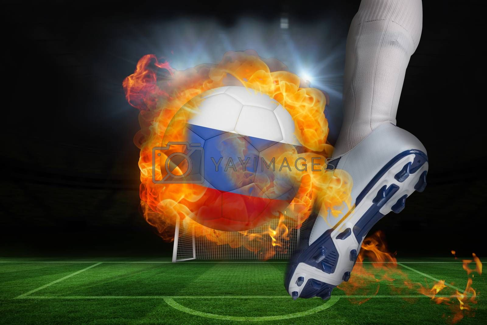 Football player kicking flaming russia flag ball by Wavebreakmedia