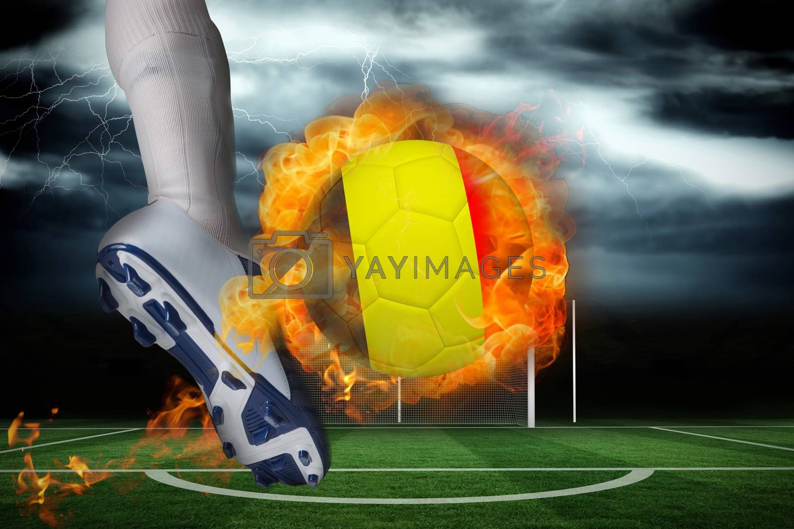 Football player kicking flaming belgium flag ball by Wavebreakmedia