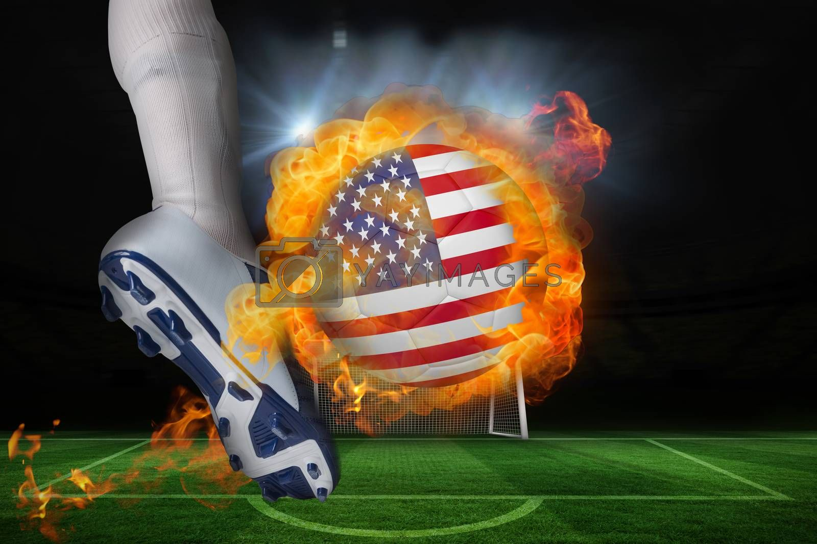 Football player kicking flaming usa flag ball by Wavebreakmedia