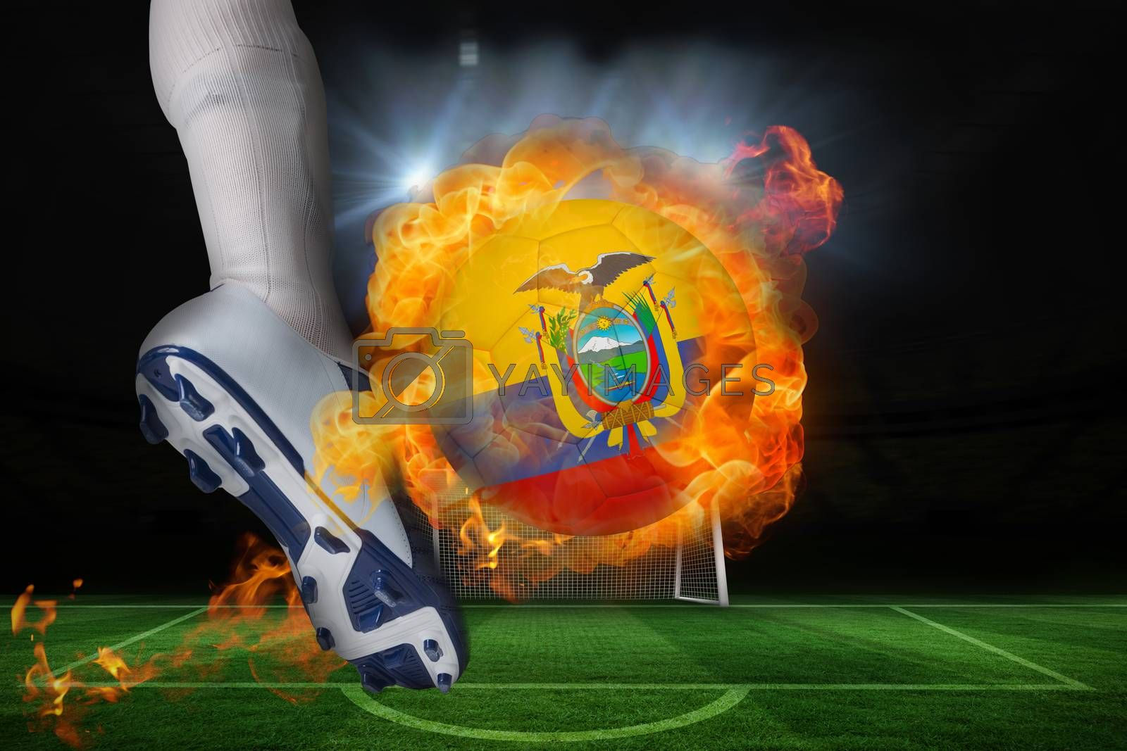 Football player kicking flaming ecuador flag ball by Wavebreakmedia