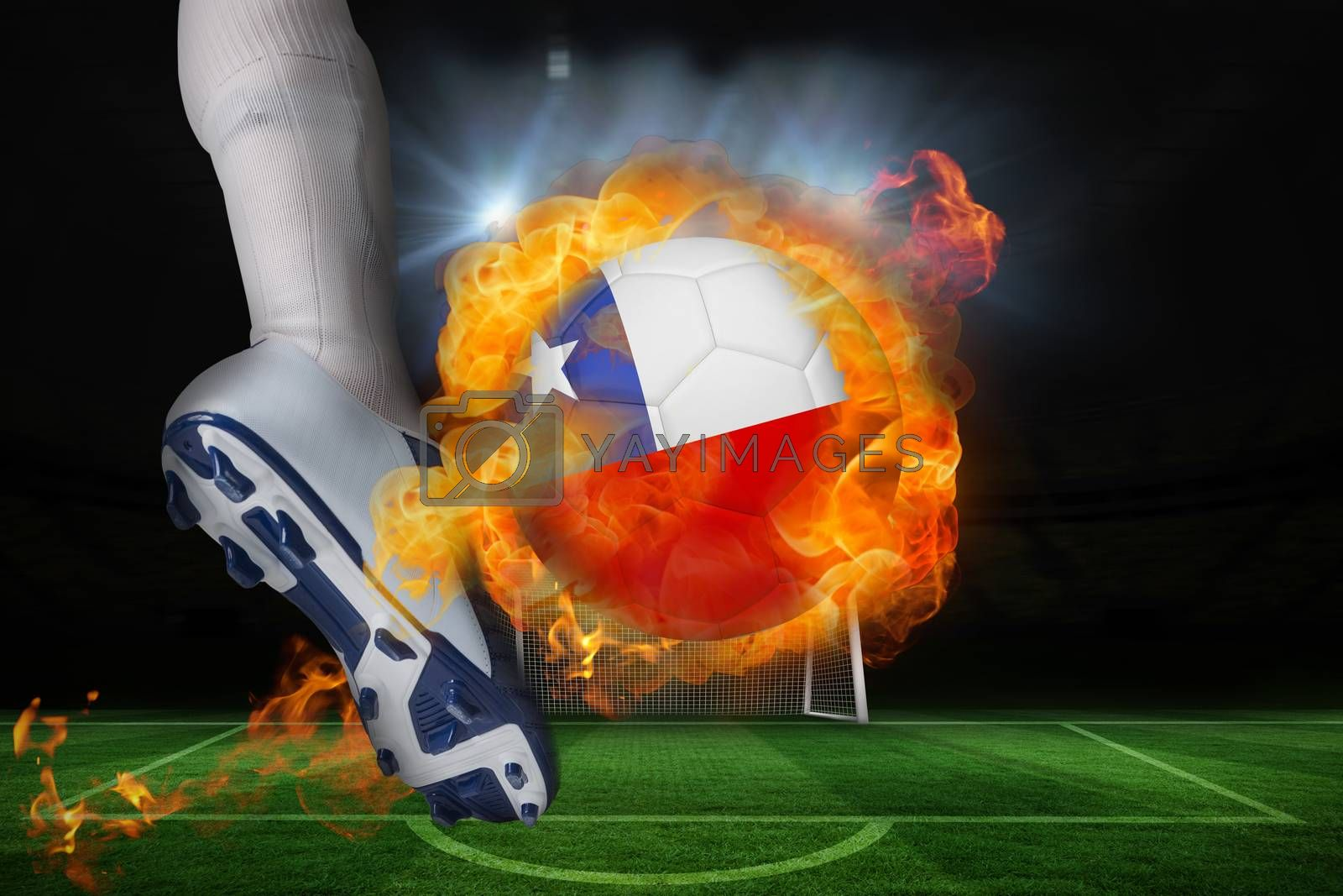 Football player kicking flaming chile flag ball by Wavebreakmedia