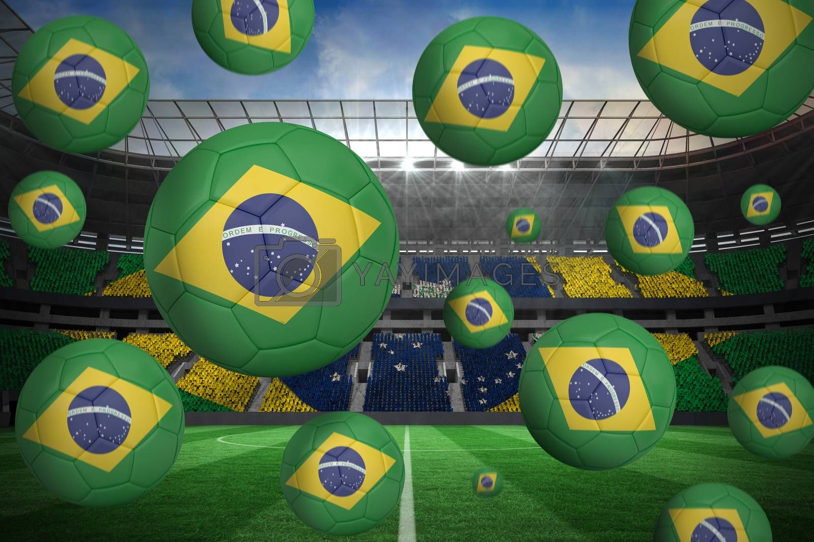 Footballs in brasil flag colours  by Wavebreakmedia