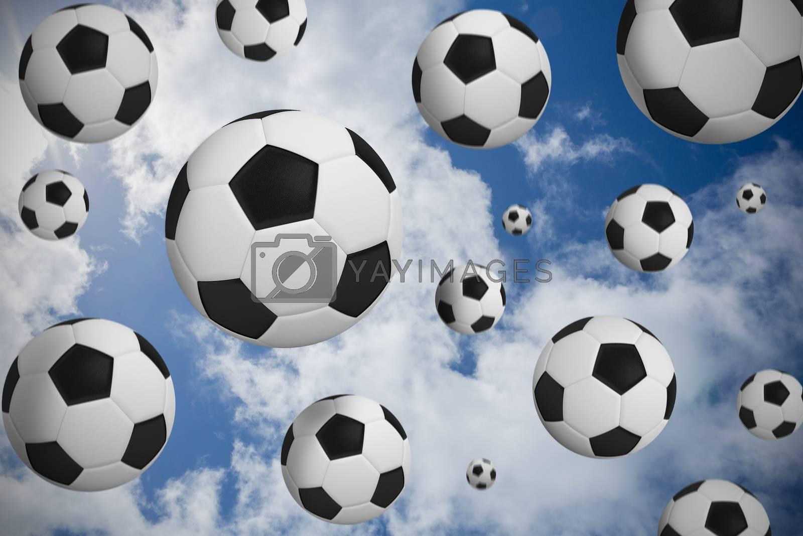 Black and white footballs by Wavebreakmedia