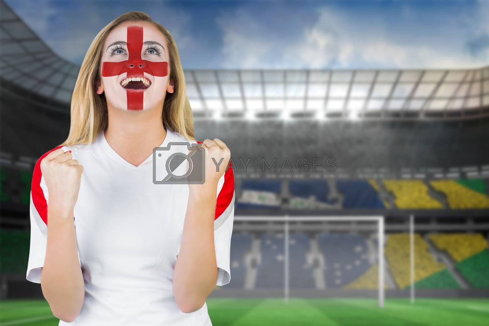 Excited fan england in face paint cheering by Wavebreakmedia