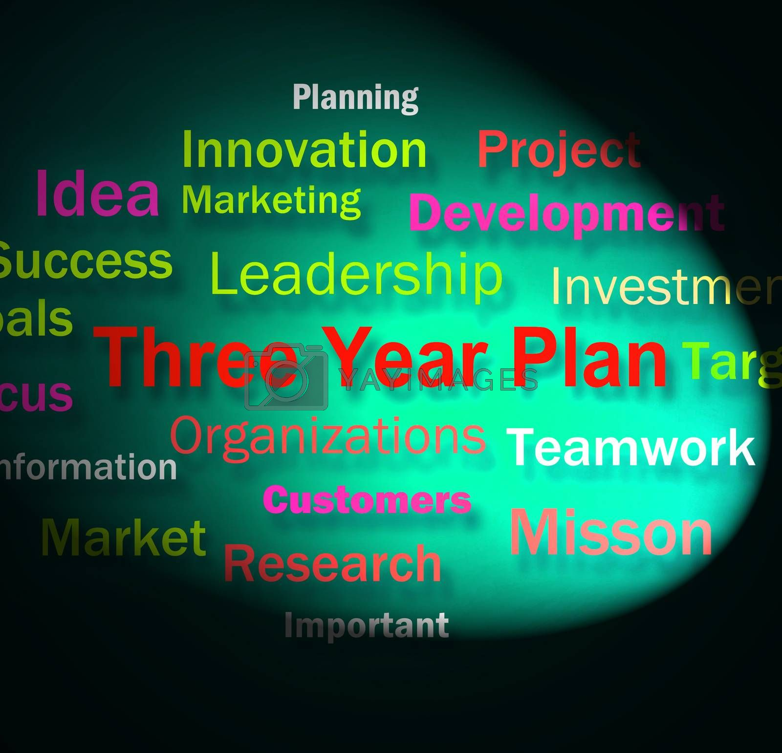 Three Year Plan Words Shows Future Business Program by stuartmiles