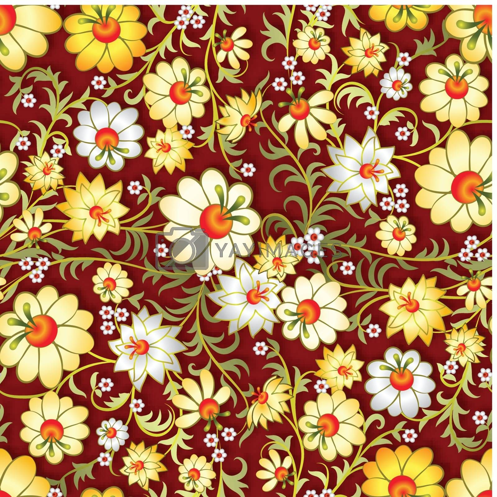 abstract seamless floral ornament with spring flowers by lem