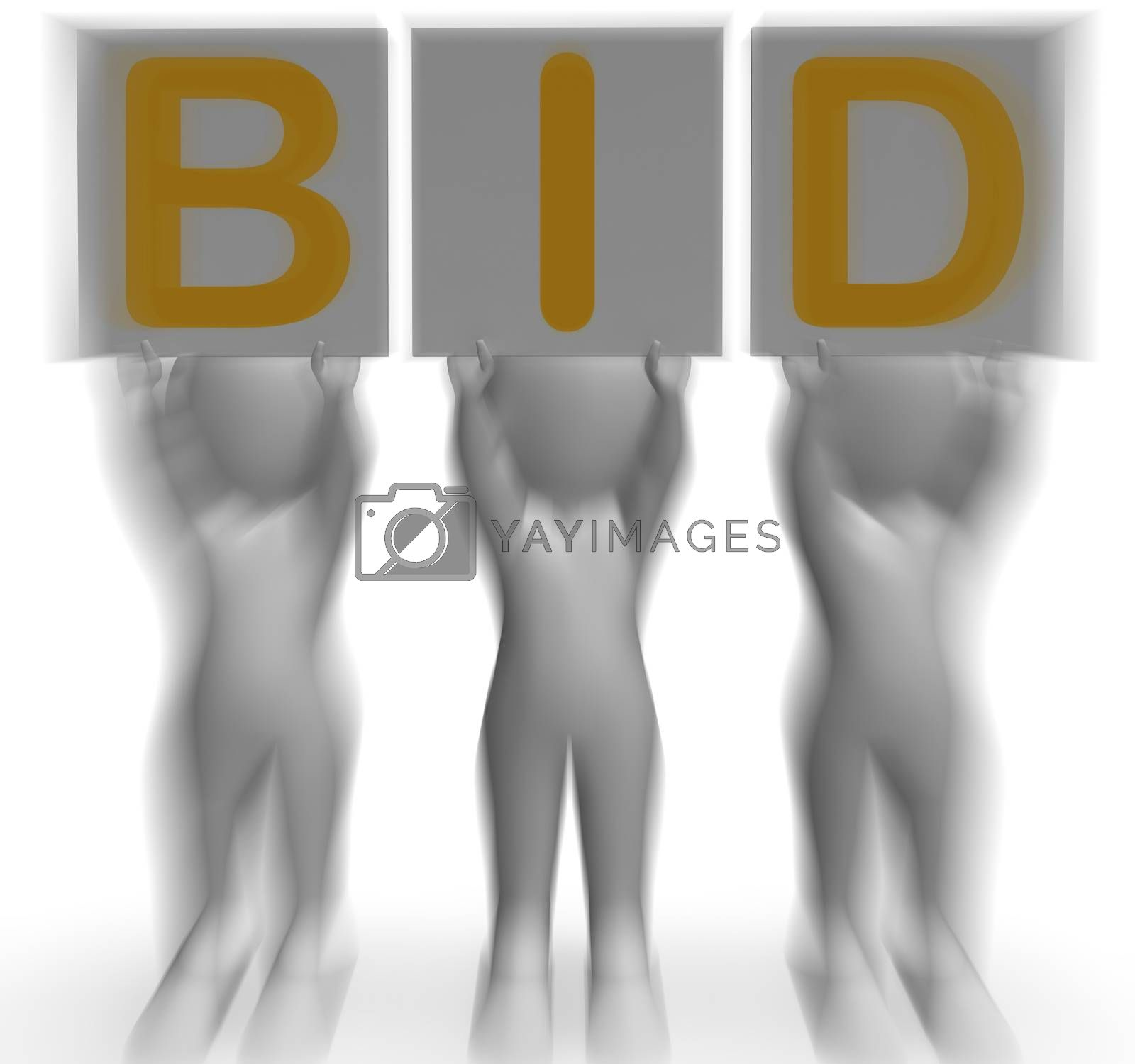 Bid Placards Shows Auction Bidder And Auctioning by stuartmiles