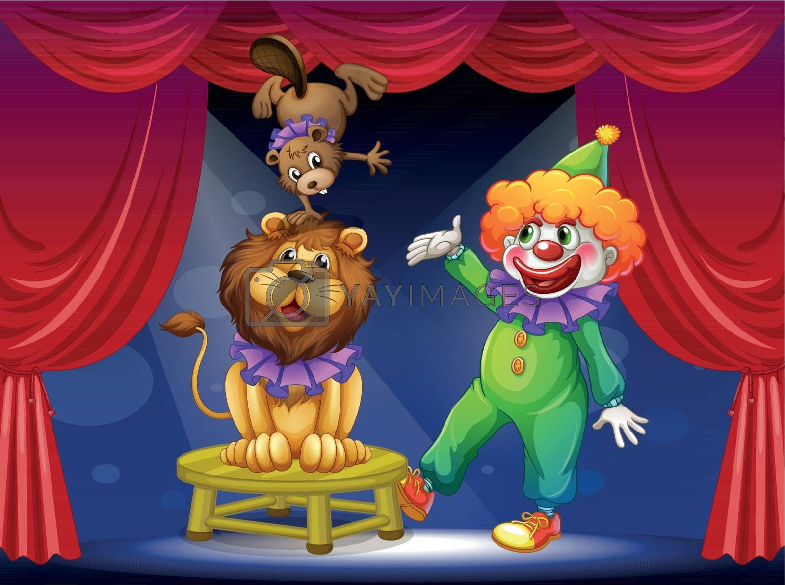 Illustration of a clown with animals at the stage