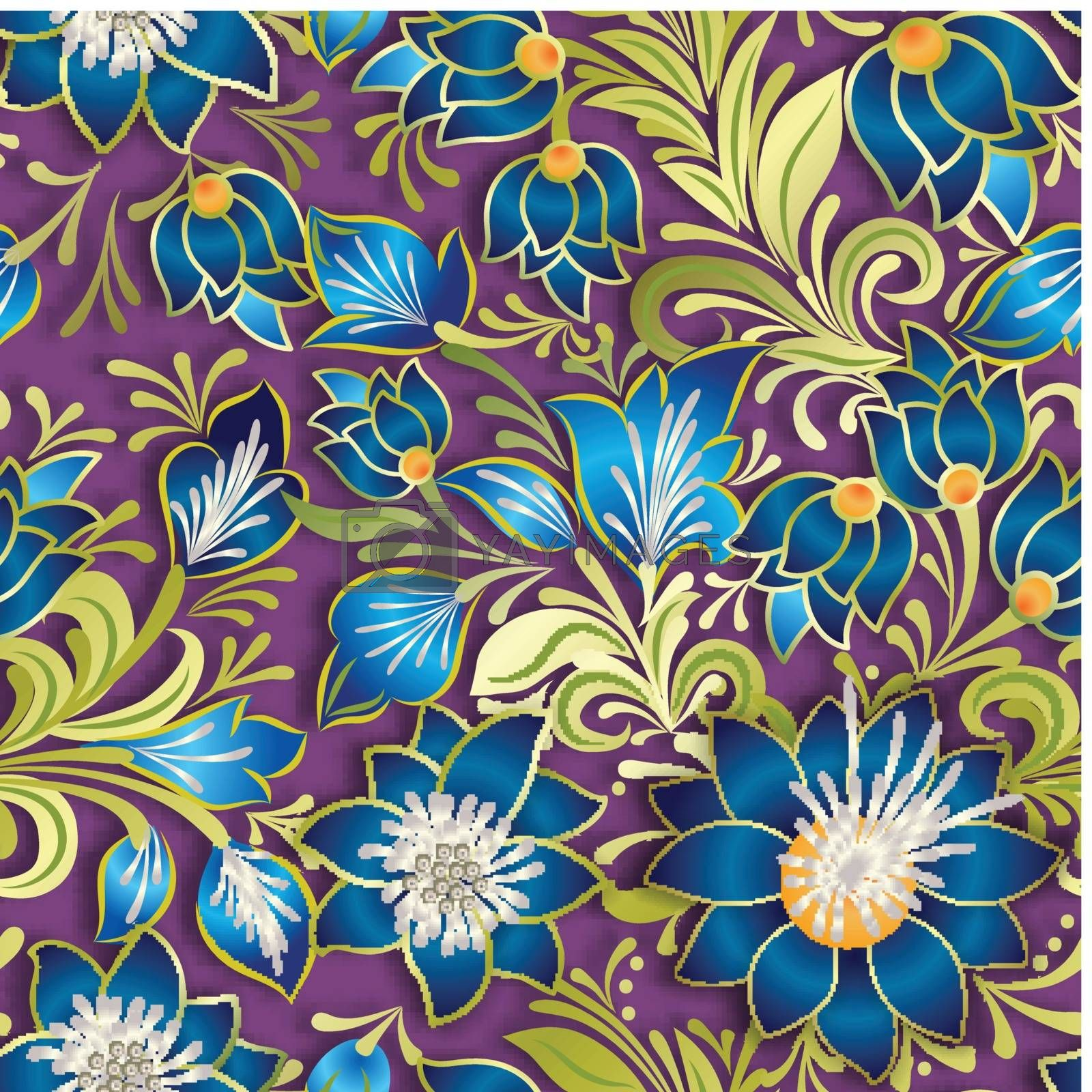 abstract vintage seamless floral ornament by lem