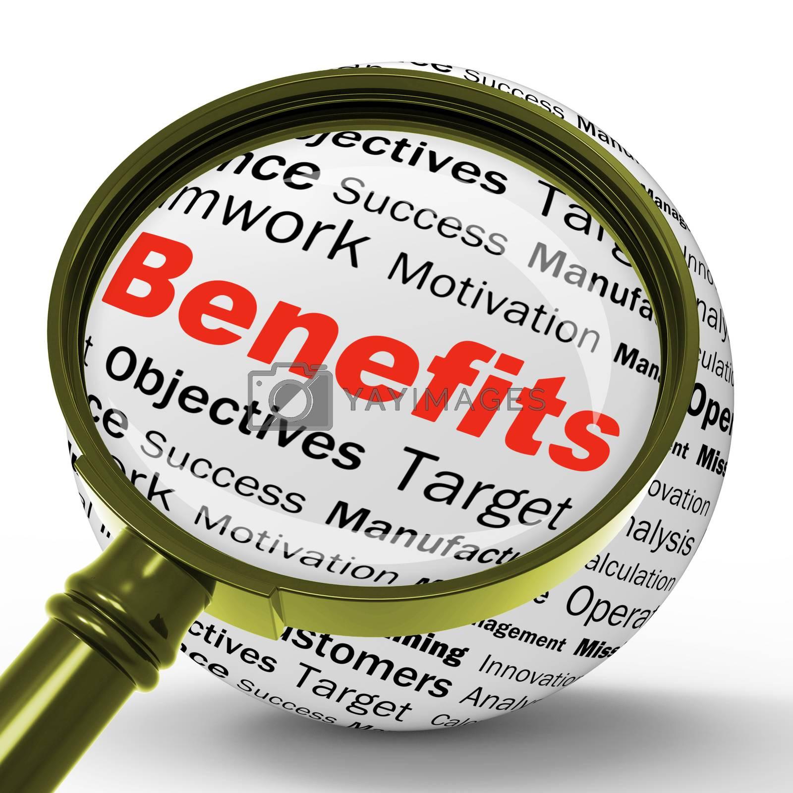 Benefits Magnifier Definition Means Advantages Or Monetary Bonus by stuartmiles