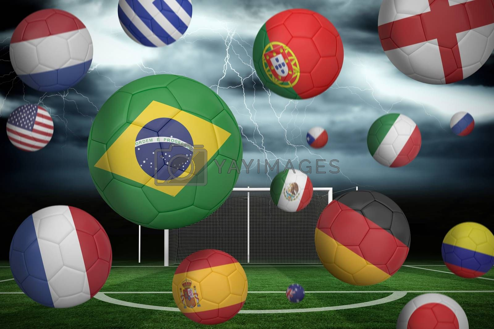 Footballs in various flag colours  by Wavebreakmedia