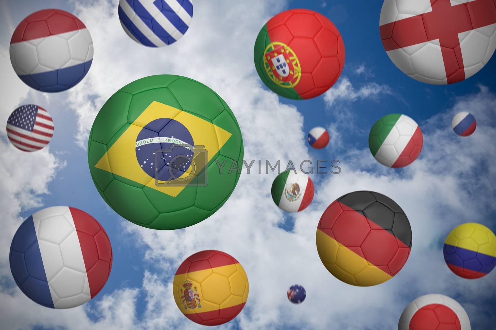 Footballs in various flag colours  by Wavebreakmedia
