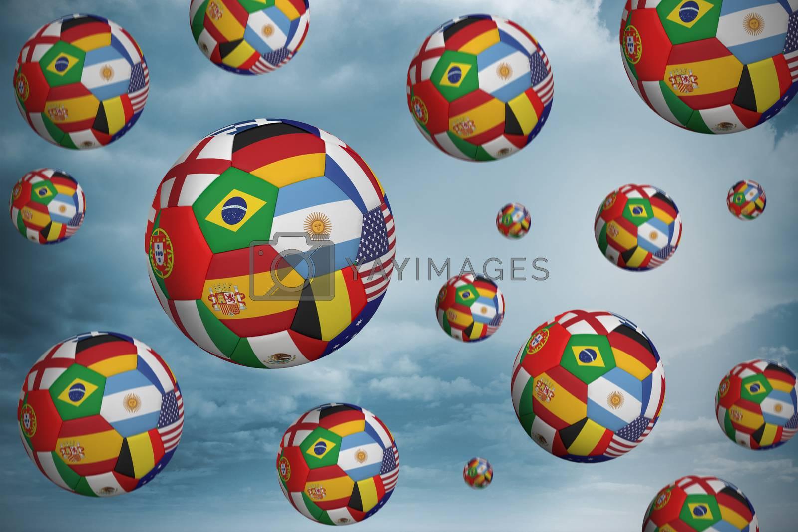 Footballs in international flags by Wavebreakmedia
