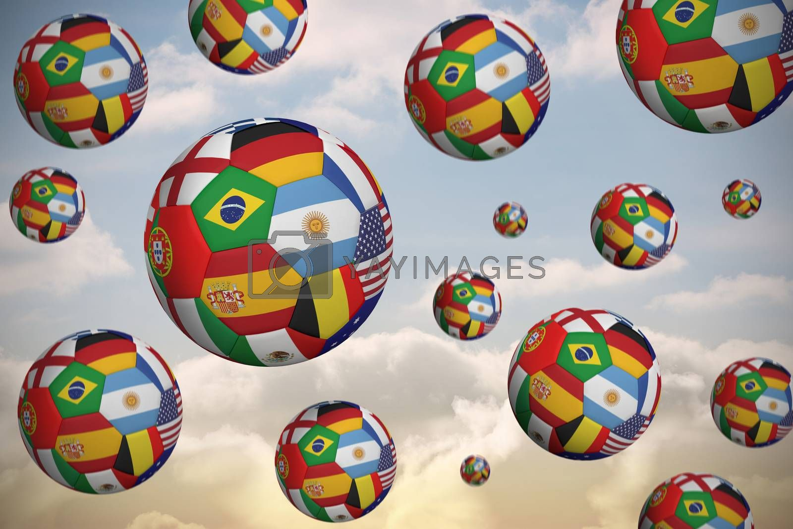 Footballs in international flags by Wavebreakmedia